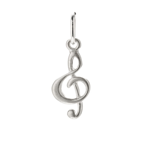 treble clef charm, sterling silver