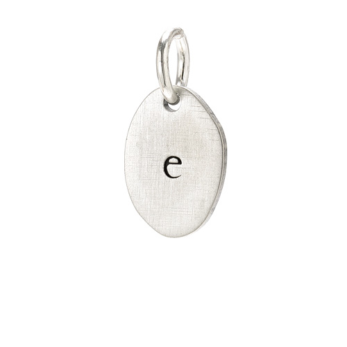 &quot;E&quot; charm, sterling silver