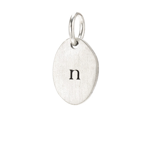&quot;N&quot; charm, sterling silver
