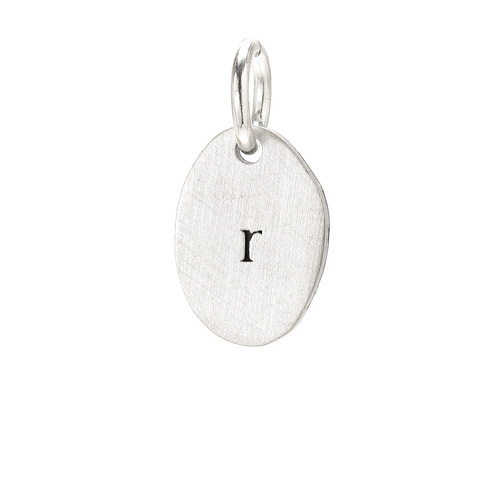 &quot;R&quot; charm, sterling silver
