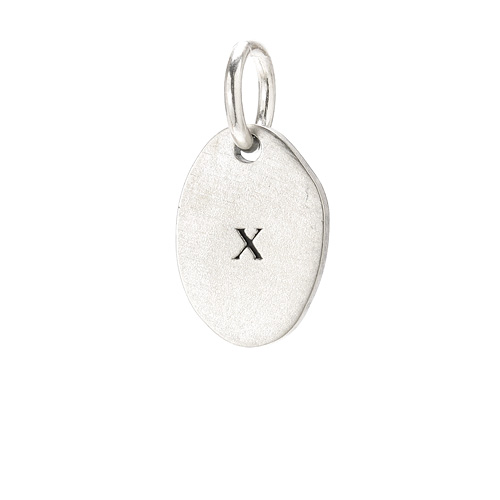 &quot;X&quot; charm, sterling silver