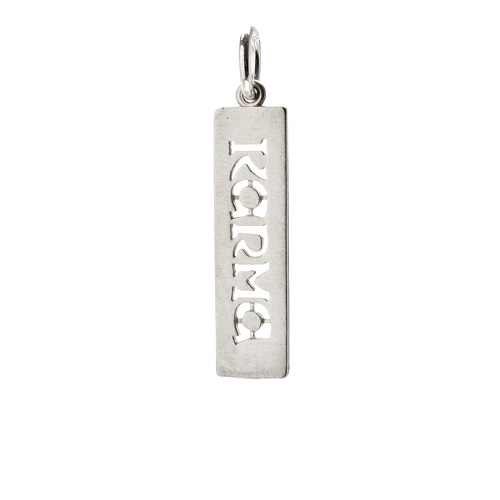 &quot;karma&quot; word charm, sterling silver