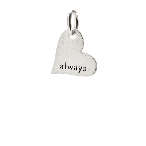&quot;always&quot; heart charm, sterling silver