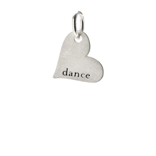 """dance"" heart charm, sterling silver"