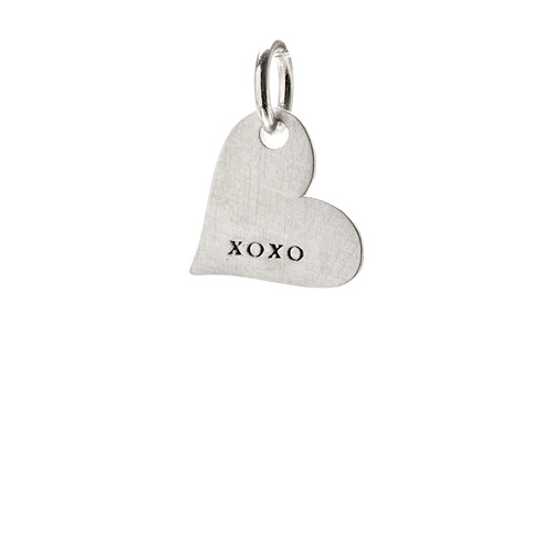 """xoxo"" heart charm, sterling silver"