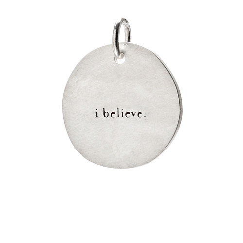 &quot;I believe&quot; charm, sterling silver