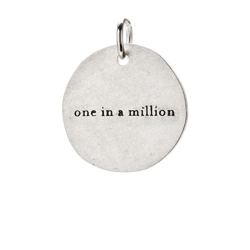 &quot;one in a million&quot; charm, sterling silver