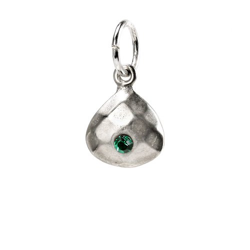 may birthstone charm, sterling silver