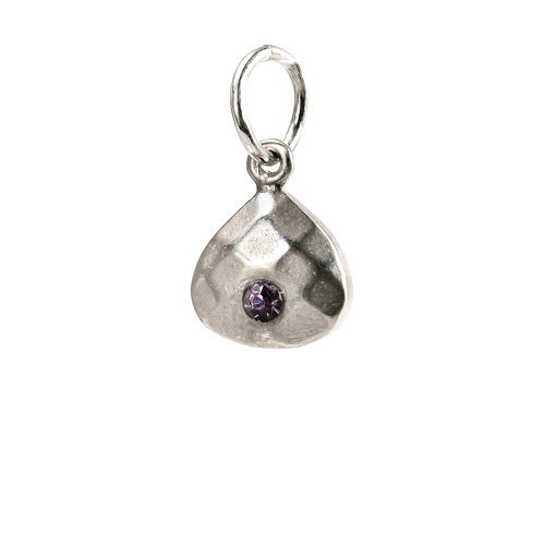 june birthstone charm, sterling silver