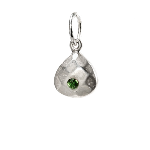 august birthstone charm, sterling silver