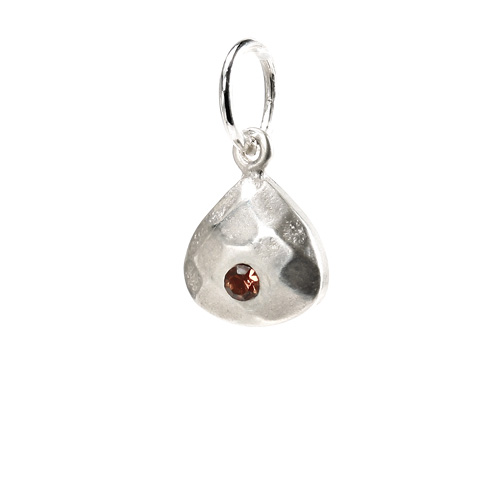 november birthstone charm, sterling silver