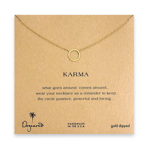 simple karma necklace, gold dipped - 18 inches