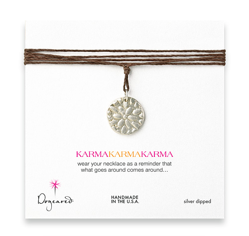 large karma sterling silver flower necklace on hemp - 32 inches