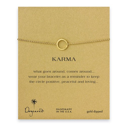 small karma circle bracelet, gold dipped