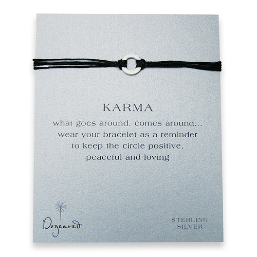 small karma hammered bracelet sterling silver on black irish linen