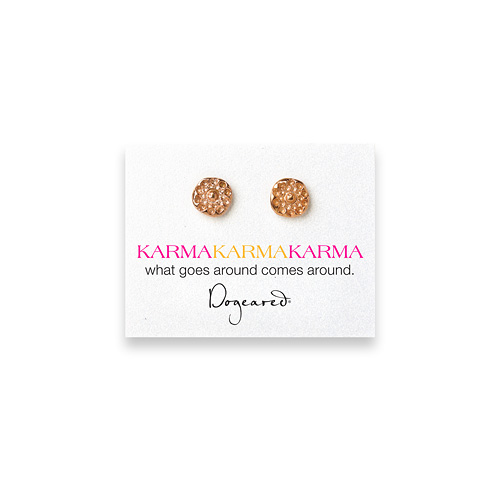 karma flower rose gold dipped stud earrings