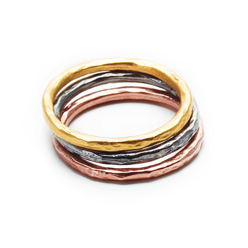mixed metal karma rings, set of three - size 5