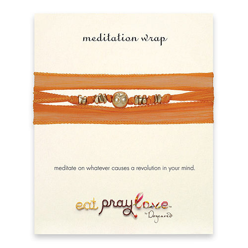 eat pray love meditation wrap bracelet in pumpkin silk with gold dipped om bead