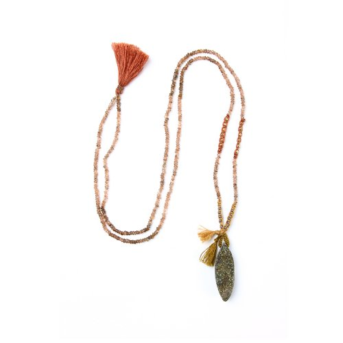limited edition rainbow pyrite necklace, faceted andalusite gems