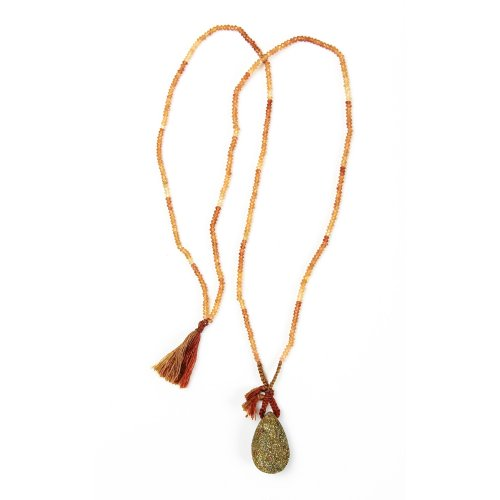 limited edition rainbow pyrite necklace, faceted hessonite gems