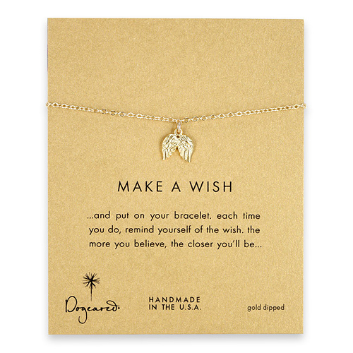 make a wish angel wings bracelet, gold dipped