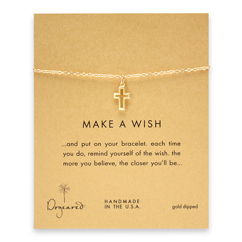 make a wish modern cross bracelet, gold dipped