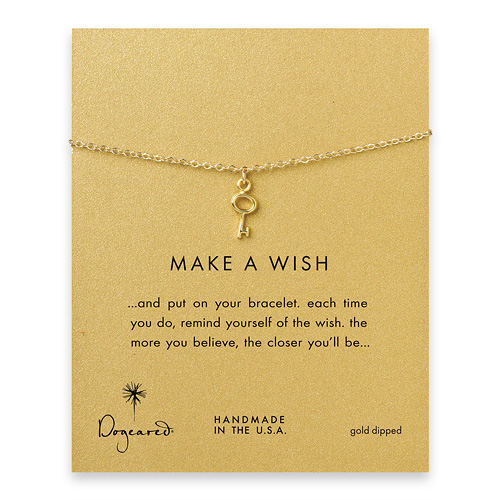 make a wish key bracelet, gold dipped