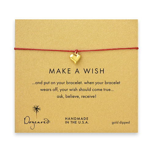 make a wish full heart bracelet on red, gold dipped