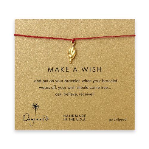 make a wish torch bracelet on red, gold dipped