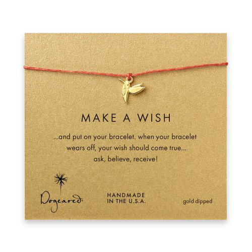 make a wish hummingbird bracelet on burnt orange, gold dipped