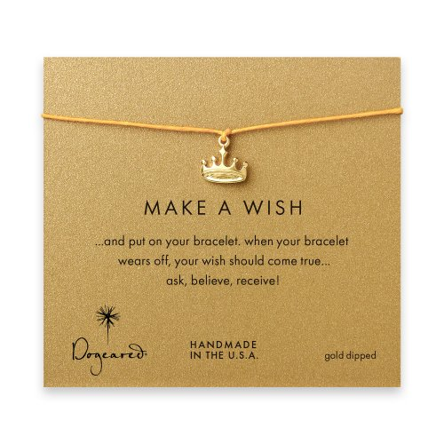 make a wish crown bracelet on mustard, gold dipped