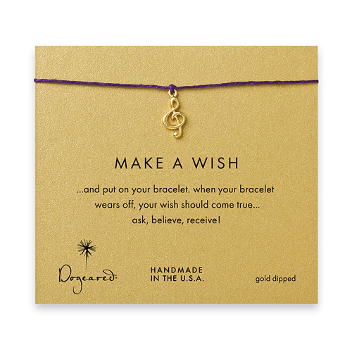 make a wish bracelet with gold dipped treble clef on plum