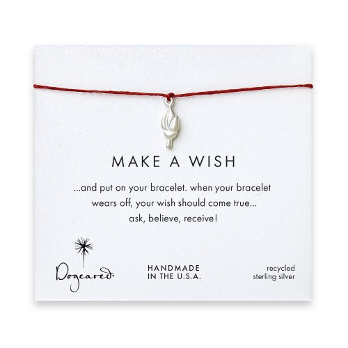 make a wish torch bracelet on red, sterling silver