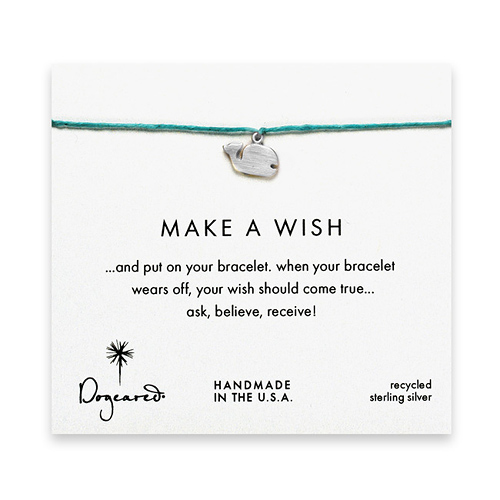 make a wish whale bracelet on turquoise, sterling silver