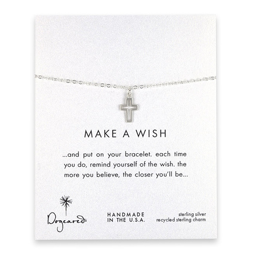 make a wish modern cross bracelet, sterling silver