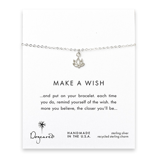 make a wish happy lotus bracelet, sterling silver
