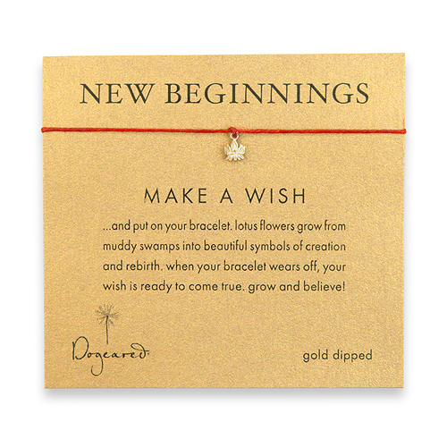 new beginnings make a wish bracelet with gold dipped lotus on red irish linen