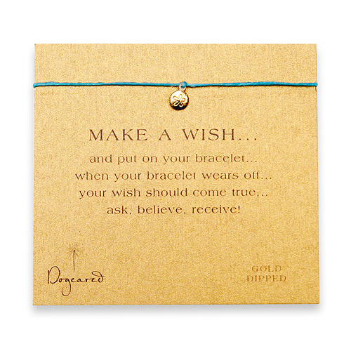 make a wish bracelet with gold dipped sand dollar on turquoise