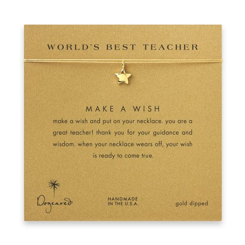 world's best teacher star necklace on gold, gold dipped