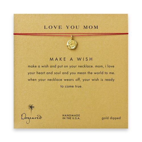 love you mom rose necklace on red, gold dipped