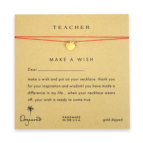 teacher make a wish necklace with gold dipped apple on red