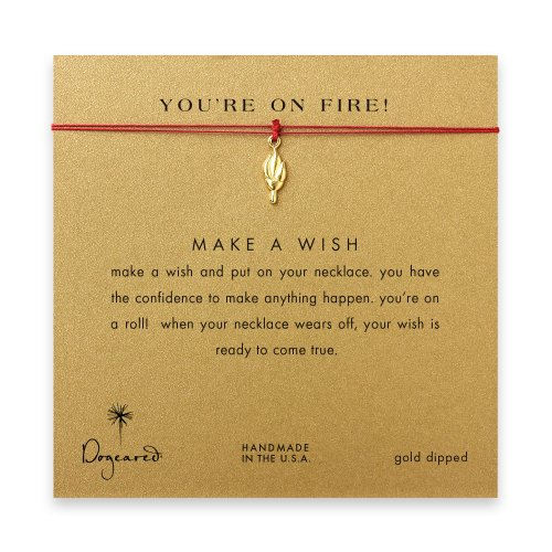 you're on fire! Torch necklace on red, gold dipped