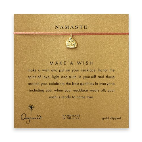namaste buddha necklace on orange, gold dipped