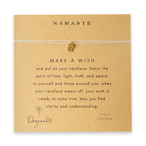 namaste make a wish necklace with gold dipped buddha on mint