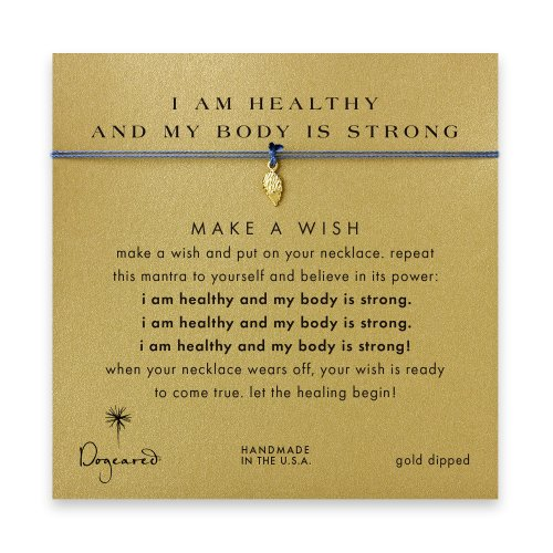 I am healthy and my body is strong angel wings necklace on ocean, gold dipped