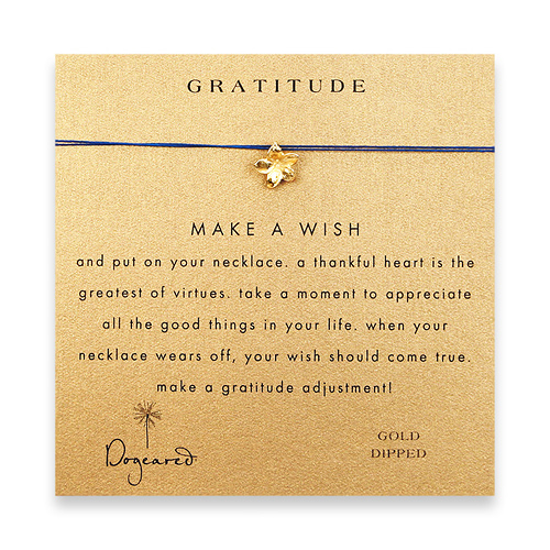 gratitude make a wish necklace with gold dipped plumeria on royal