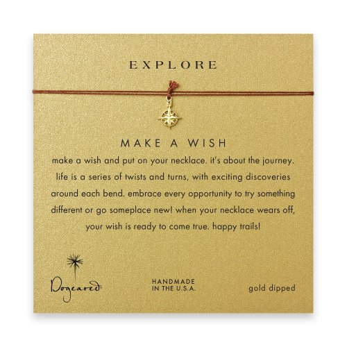 explore compass necklace on tobacco, gold dipped