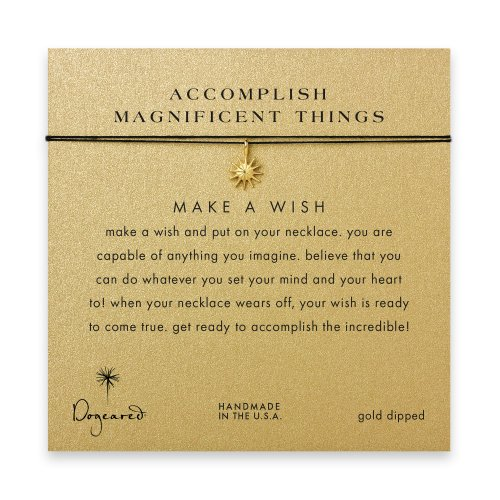 accomplish magnificent things starburst necklace on black, gold dipped