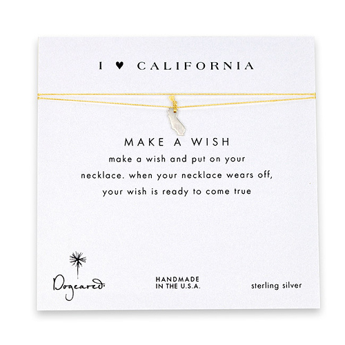 I love california, california necklace on gold, sterling silver