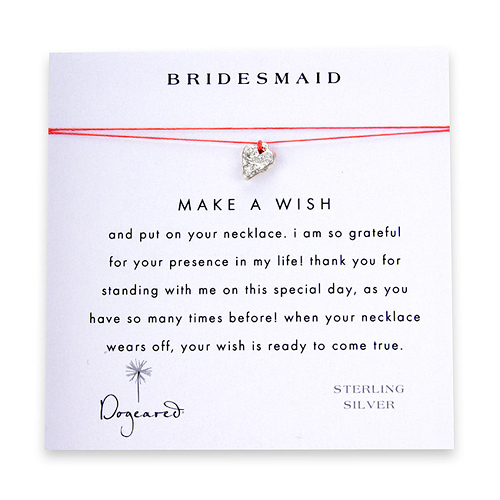 bridesmaid make a wish necklace with sterling silver mini stone heart on coral